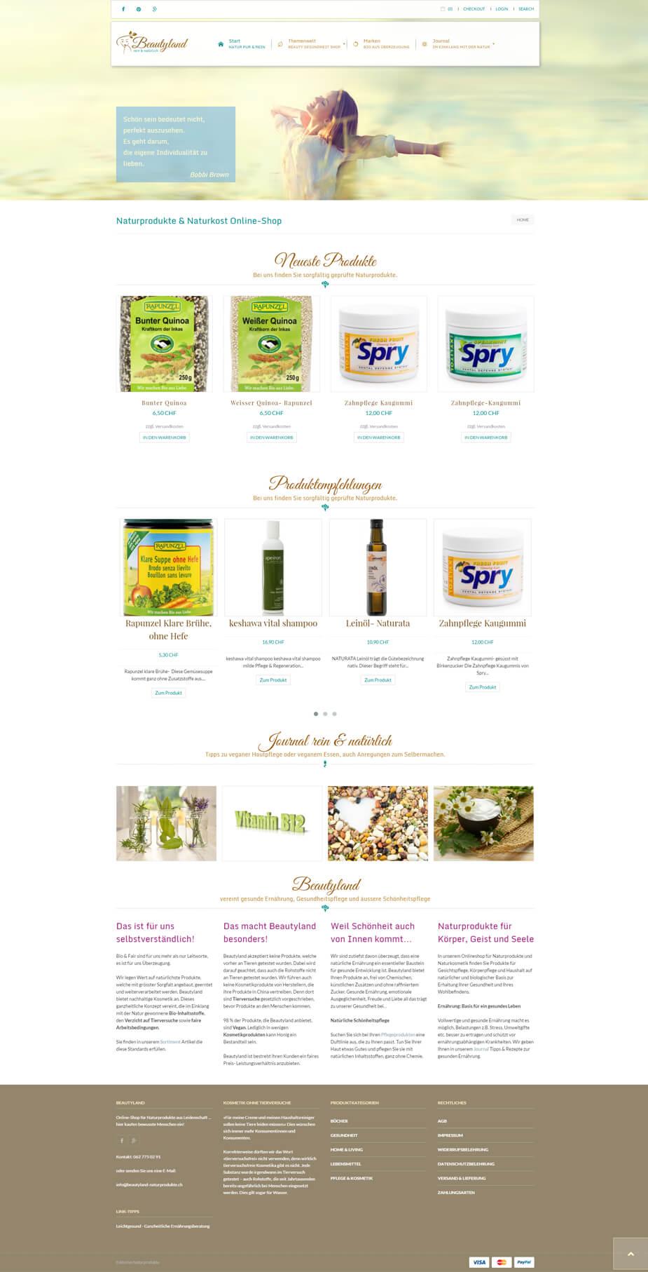 Webseite / Online-Shop: Beautyland