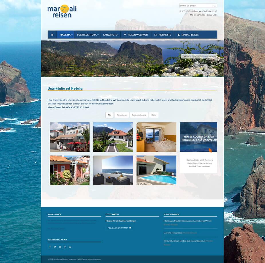 Webseite Online-Reisebüro: Marali Reisen