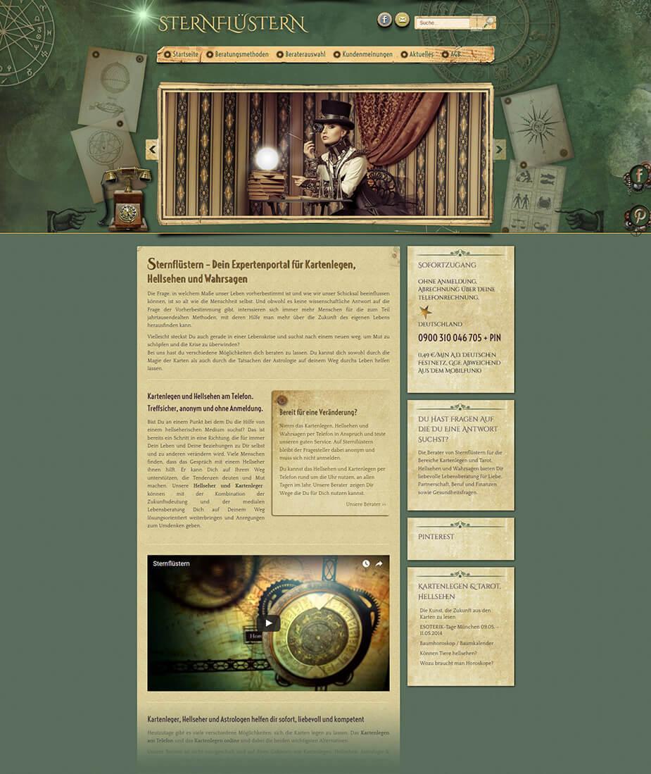Webseite / Portal Kartenleger: Sternflüstern